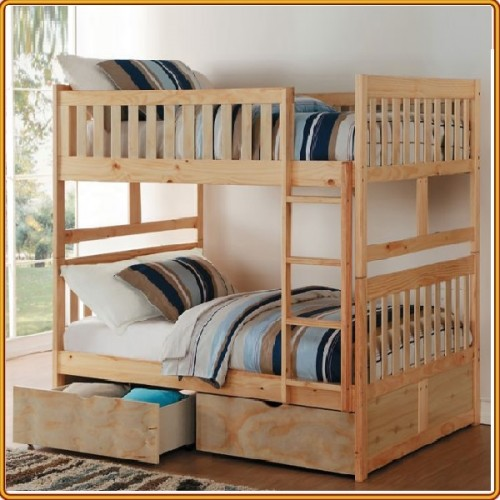 B015 - Oak : Giường 2 Tầng , 2 Hộc Tủ - 1m4